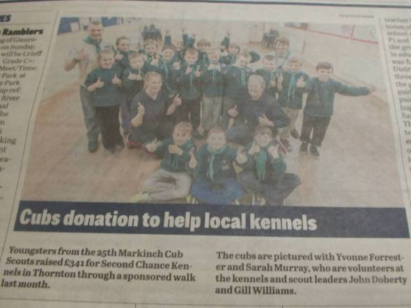 Markinch Scouts donate money to Second Chance.